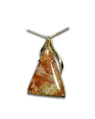 14k red moss agate pendant