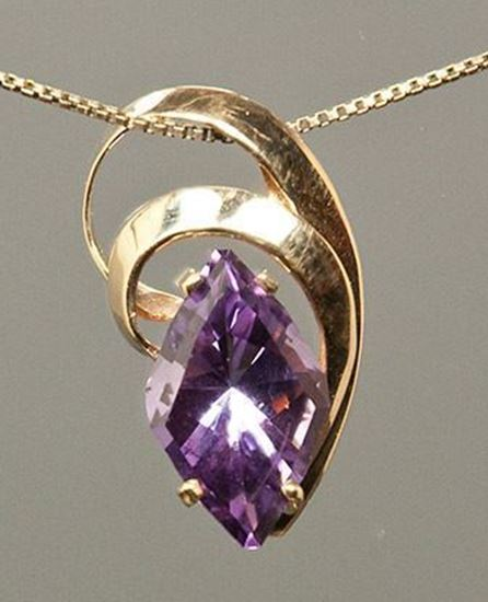18x10mm Diamond Shape Amethyst in handcrafted gold mounting