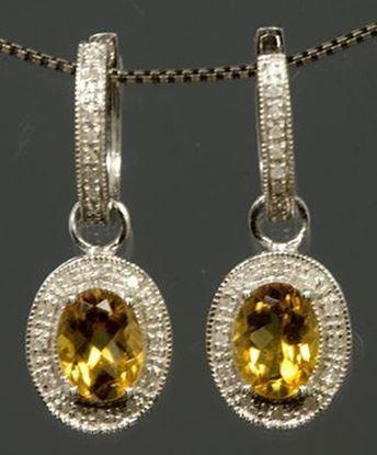 14k White Gold Diamond & Oval Citrine Earrings