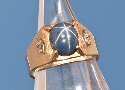 Star Sapphire & Diamond gold ring