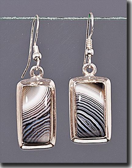 Banded Black & White Agate Earrings