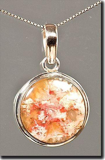 Regency Rose Plume Agate Silver Pendant