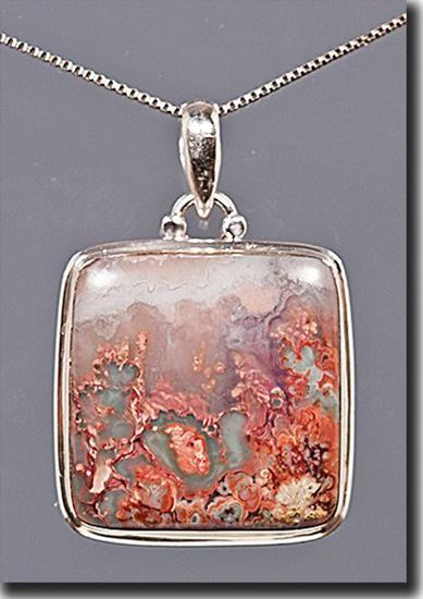Picture of Idaho Prudent Man Plume Agate Silver Pendant