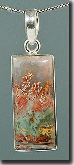 Prudent Man Plume Agate Silver Pendant