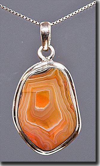 Lake Superior Agate Silver Pendant