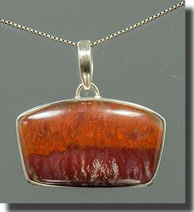 Mexican Flame Agate Silver Pendant