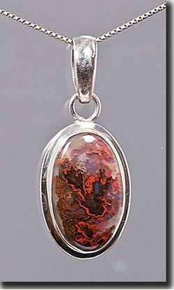 Woodward Ranch Plume Agate Silver Pendant