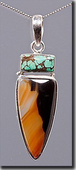 Montana Moss Agate & Turquoise Pendant