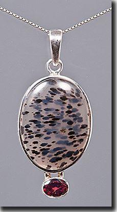 Montana Moss Agate & Garnet Pendant