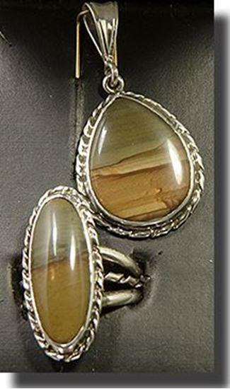 Owyhee Red Desert Picture Jasper Silver Pendant & Ring