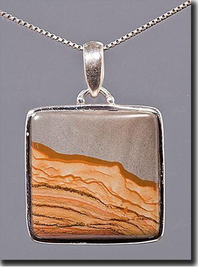 Owyhee Shadow Mountain Picture Jasper Silver Pendant