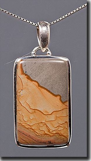 Owyhee Shadow Mountain Picture Jasper Silver Pendant