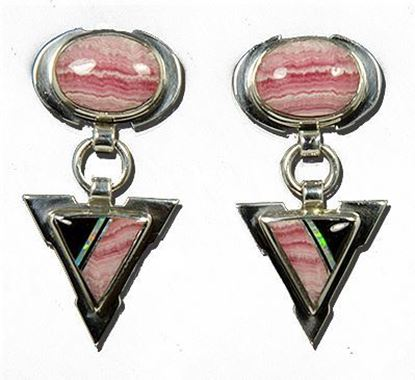Navajo Inlay Rhodochrosite, Opal & Jet Earrings