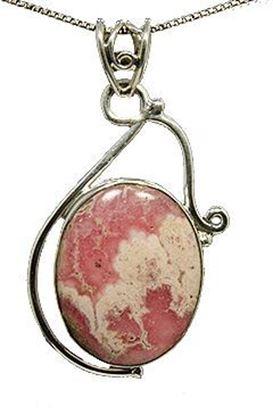 Pink Rhodochrosite Silver Pendant