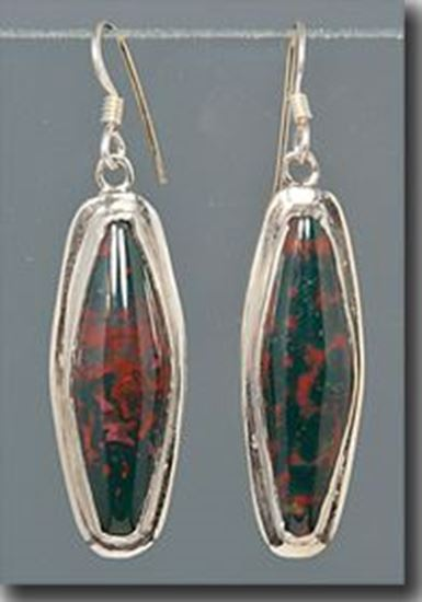 Bloodstone Silver Earrings