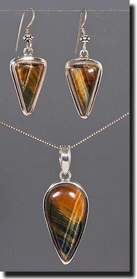 Tiger Eye Silver Pendant & Earrings