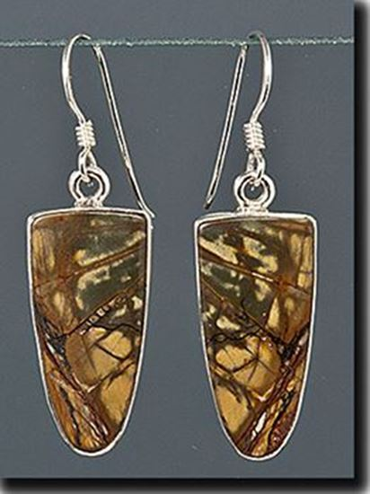 Chinese Red Creek Jasper Silver Earrings