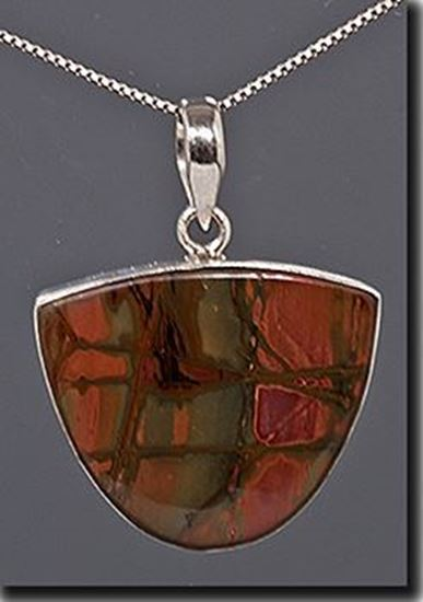 Chinese Red Creek Jasper Silver Pendant