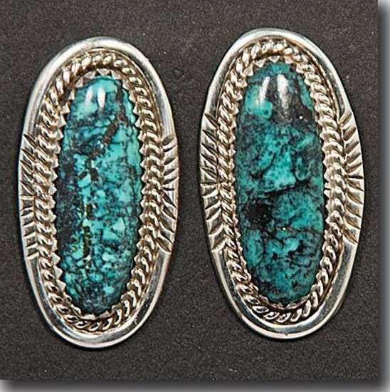 Nevada Blue Turquoise Silver Earrings