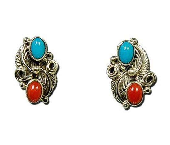 Navajo made Silver Earrings with Sleeping Beauty Turquoise and Red Coral