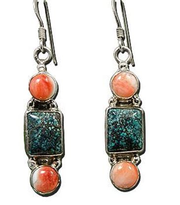 Chinese Turquoise & Pink Coral Silver Earrings