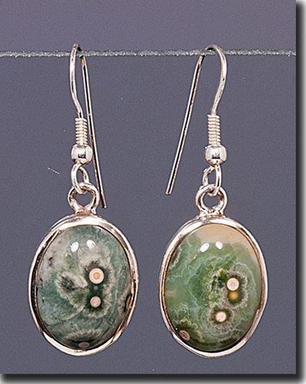 Silver earrings set with the gemstone Madagascar Ocean Jasper
