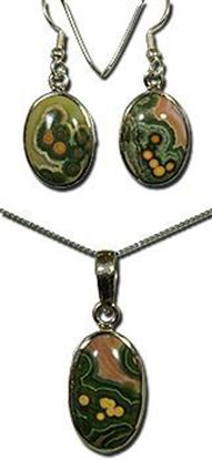 Silver earrings and pendant set with the gemstone Madagascar Ocean Jasper