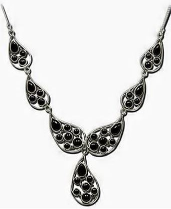 Black Onyx Silver 7 link necklace