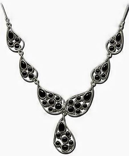 Black Onyx Silver 7 link necklace