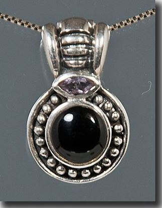 Black Onyx & Amethyst Sterling Pendant