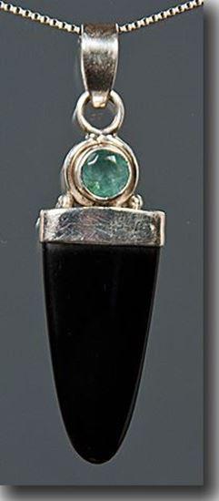 Black Onyx & Apatite Sterling Pendant