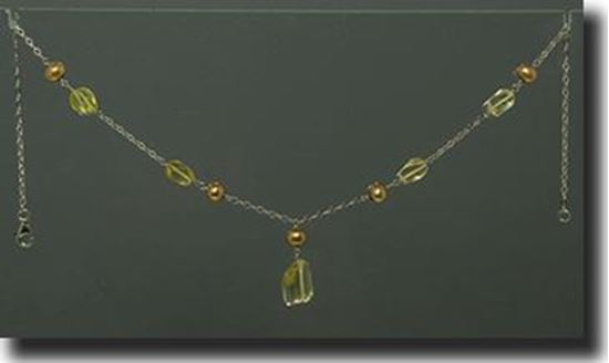 Lemon Quartz & Peearl Necklace & Bracelet