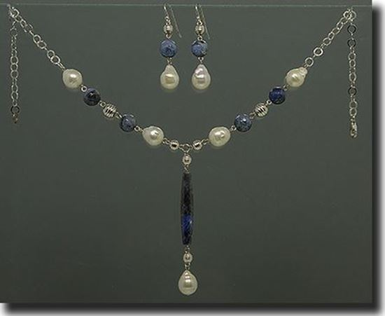 Sodalite & Pearl Silver Necklace, Braclet & Earrings