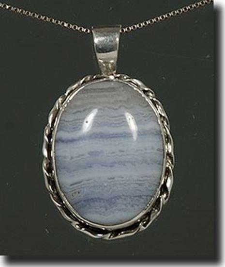 Silver Blue Lace Agate Pendant