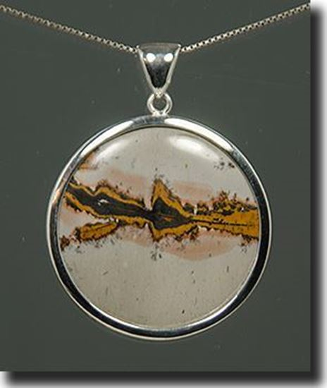 Chinese Paint Brush Jasper Silver Pendant
