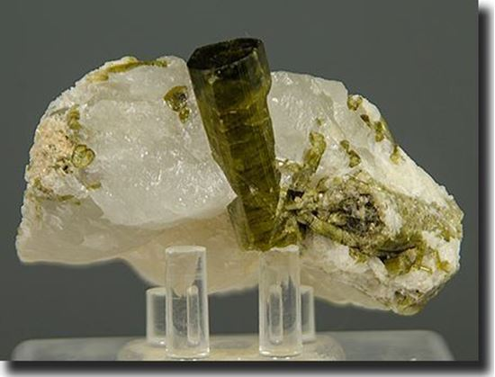 Green Tourmaline crystal in Quartz