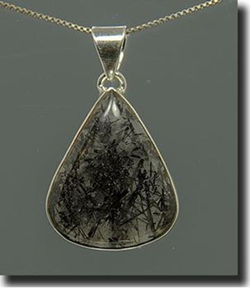 Tourmalinated Quartz Silver Pendant