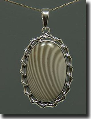 Silver Polish Stripped Flint Pendant