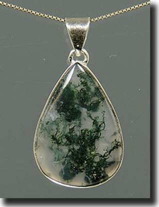 Silver Green Moss Agate Pendant