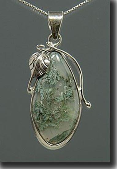 Horse Canyon Moss Agate Silver Pendant
